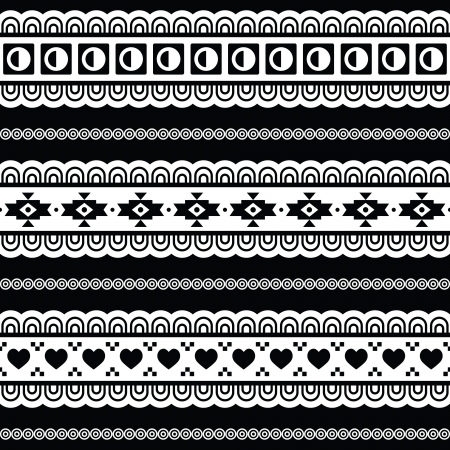 folklore: Seamless tribal pattern, aztec black and white background