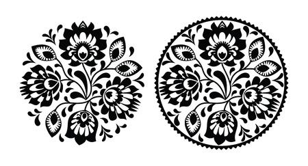 folk culture: Bordado popular con flores - modelo redondo tradicional polaca en blanco y negro