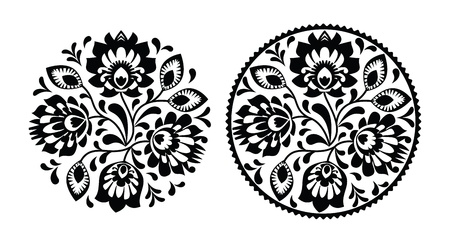 Folk embroidery with flowers - traditional polish round pattern in monochrome 矢量图片