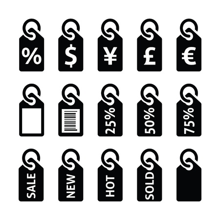 Shopping, price tag, sale vector icons set Vettoriali