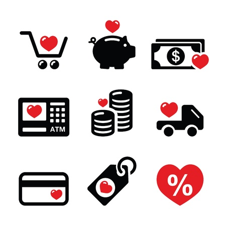 cheap prices: I love shopping, I love money vector icons