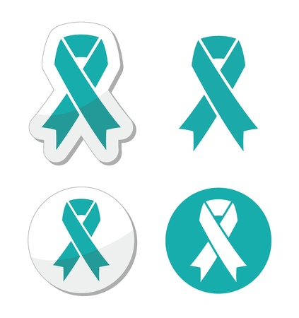 awareness ribbons: Teal ribbon - ovarian, cervical, and uterine cancers symbol Illustration