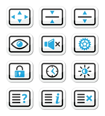 time account: Computer tv monitor screen vector icons set