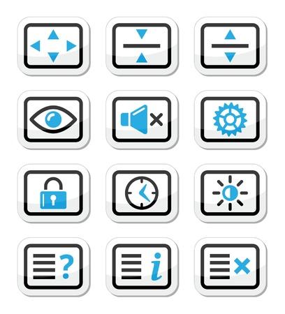 tv scherm: Computer tv monitor screen vector pictogrammen instellen