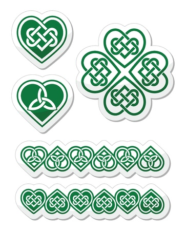Celtic green heart knot - vector symbols set Vector