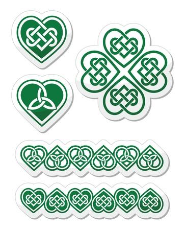 Keltische groene hart knoop - vector symbolen set