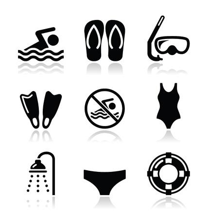 水泳、スキューバ ダイビング、スポーツ ベクトル アイコンを設定