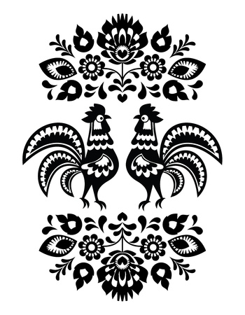 Polish ethnic floral embroidery with roosters in black and white Vector