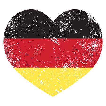 Germany heart shaped retro flag Illustration