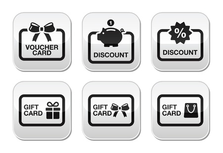discount card: Voucher, gift, discount card vector buttons set