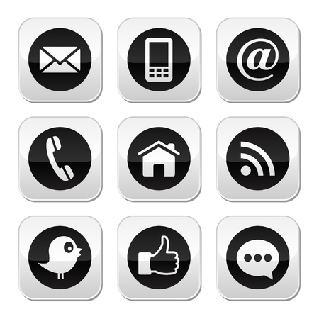 Contact, web, blog and social media buttons Vector