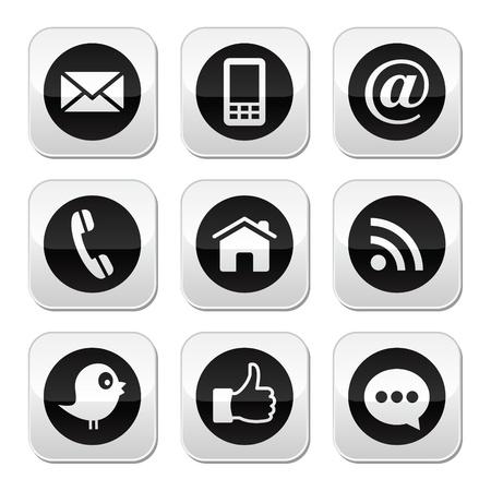 Contatto, web, blog e pulsanti di social media Vettoriali