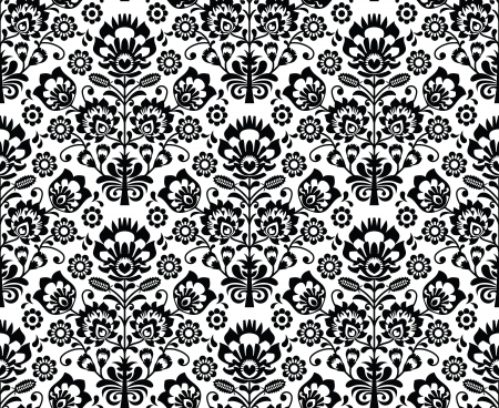 Seamless floral polish pattern - ethnic background in black and white 矢量图像