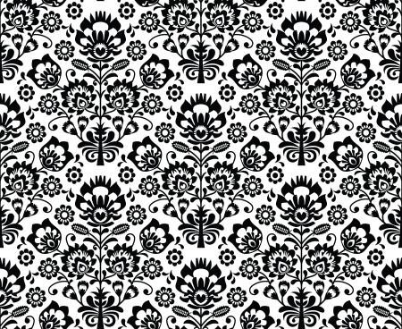 motif floral: Seamless floral polonais - ethnique en noir et blanc