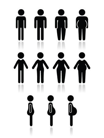 sıska: Erkek ve kadın vücut tipi simgeler - ince, ince, obez, yağ,