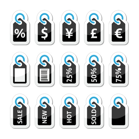 Shopping, price tag, sale vector icons set Vector