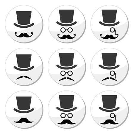 black head and moustache: Mustache or moustache with hat and glasses icons set