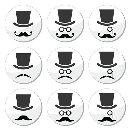 zylinder: Schnurrbart oder Schnurrbart mit Hut und Brille icons set Illustration