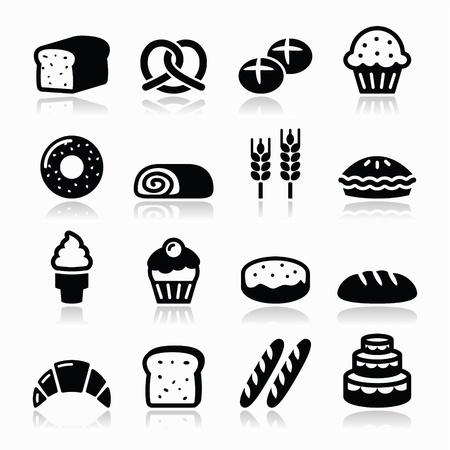 bake: Bakery, pastry icons set - bread, donut, cake, cupcake Illustration