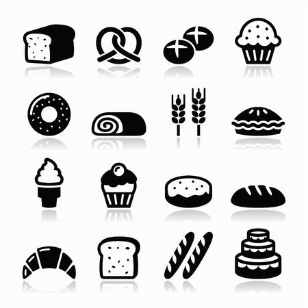 Bakkerij, gebak iconen set - brood, donut, cake, cupcake Stock Illustratie