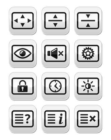 time account: Computer tv monitor screen vector buttons set