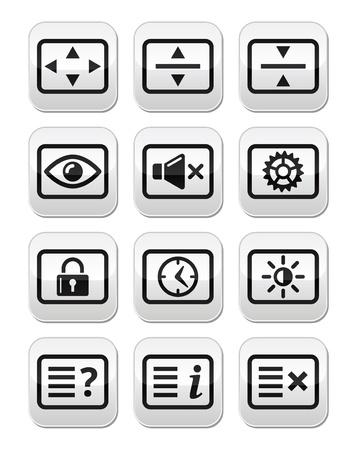tele: Computer tv monitor screen vector buttons set