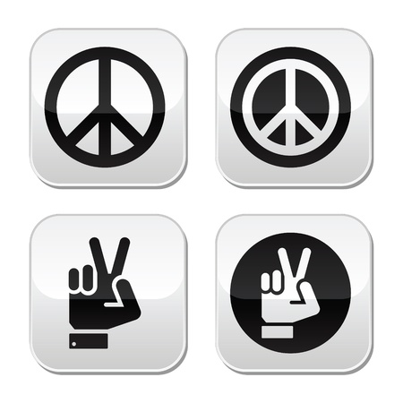 Peace, hand gesture vector buttons set Stock Vector - 20230212