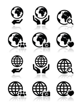 the internet: Globo di terra con le mani icone vettoriali set con la riflessione Vettoriali