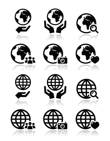 wereldbol groen: Wereldbol aarde met handen vector pictogrammen set met reflectie Stock Illustratie