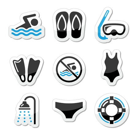 Swimming, scuba diving, sport vector icons set Vector