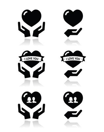 liebe: Hände mit Herz, Liebe, Beziehung gesetzt Symbole