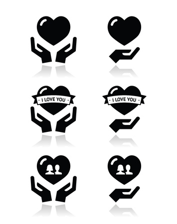 two hearts together: Hands with heart, love, relationship icons set Illustration