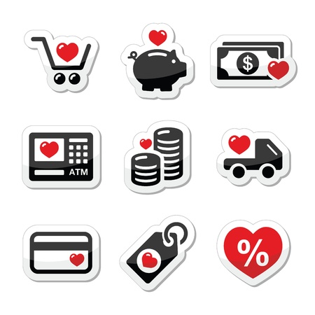I love shopping, I love money vector icons Vector