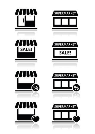 1 つの店、スーパー マーケットのベクトル アイコンを設定