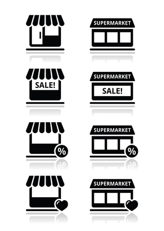 boutiques: Single shop   store, supermarket vector icons set Illustration