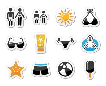 swim wear: Summer beach holidays vector icons set