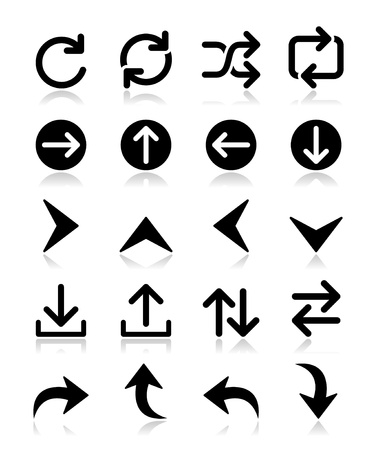 clockwise: Arrow vector icon sets isolated on white