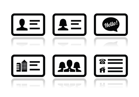 contact details: Business card vector icons set