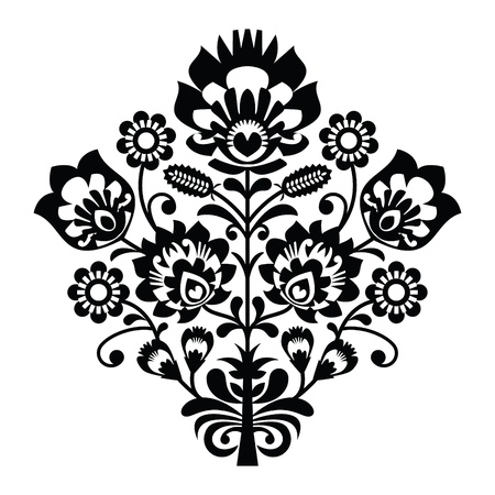 Traditional polish folk pattern in black and white Stock Vector - 20407955