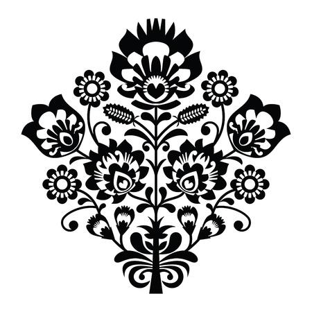 kaszuby: Traditional polish folk pattern in black and white