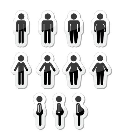 sıska: Erkek ve kadın vücut simgeleri - ince, yağ, obez, ince