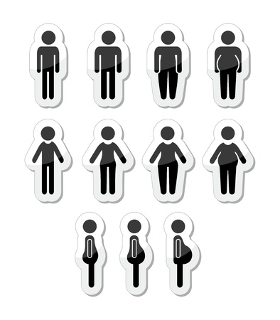 hombre flaco: Hombre y mujer los iconos del cuerpo - delgado, gordo, obeso, delgado Vectores