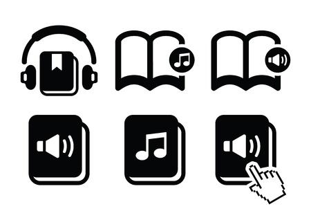 Audiobook vector icons set Vector