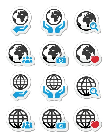 hands holding earth: Globe earth with hands icons set