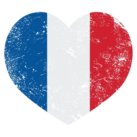 citizens: France heart retro flag Illustration