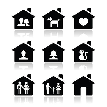 Home, family icons set  Illustration