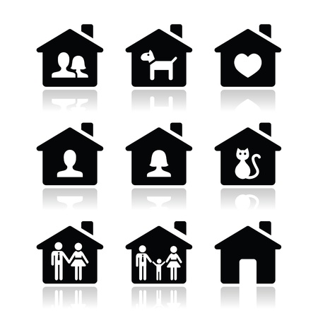 happy couple at home: Home, family icons set  Illustration