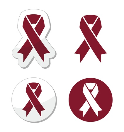 Burgundy ribbon symbol of brain aneurysm, Cesarean section, headaches Vector