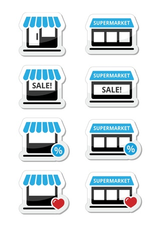 Single shop   store, supermarket icons set