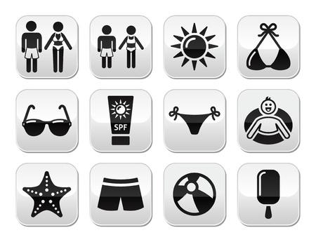 rubber tube: Summer beach holidays vector buttons set